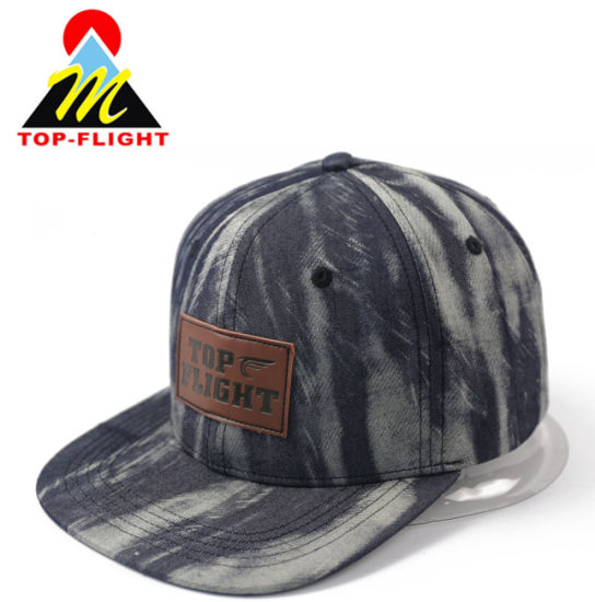 100% Polyester Custom Leather Patch Snap Back Flat Cap