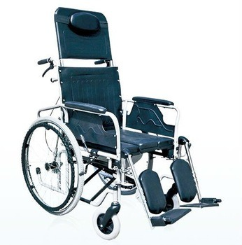 Recling High Backrest Manual Multificational Wheelchair for Handicapped Elderly Disabled