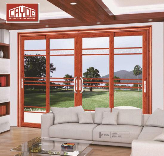 Custom Sound Proof Aluminium Narrow Frame Profile Thermal Break Tempered  Glass Entry Sliding Door