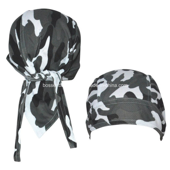 Custom Made Logo Printed Army Green Camouflage Cotton Head Wrap Adjustable Cycling Skulll Bandana Caps