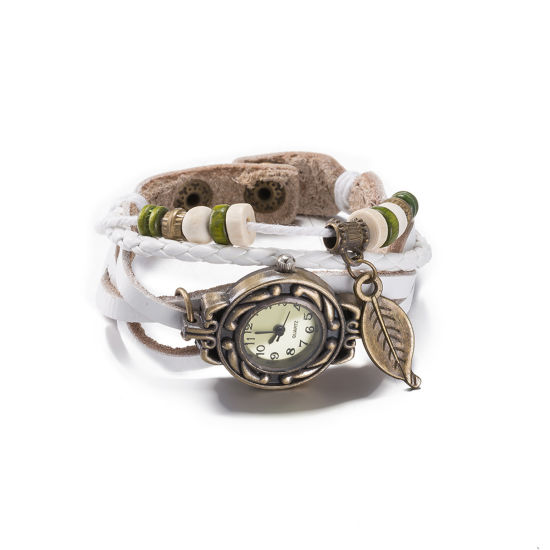 Hot Sale Vintage Style White Leather with Watch Bracelet