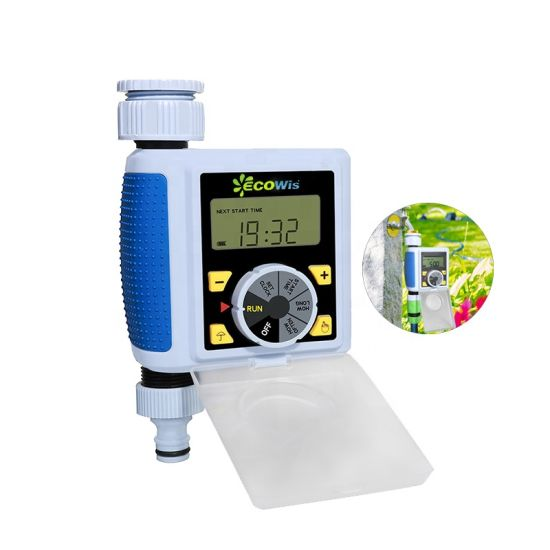Two Outlet Electronic Water Timer Garden//Home Irrigation System Color Blue
