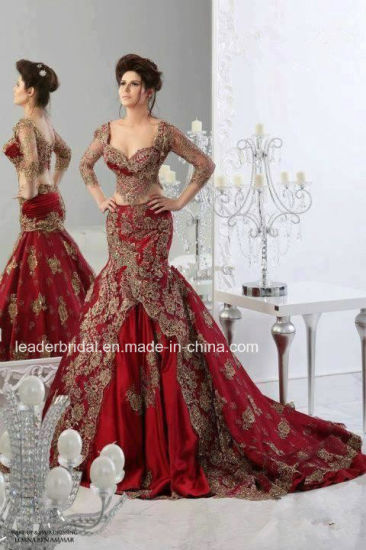 Red Lace Mermaid Bridal Dresses Long Sleeves Wedding Gown Wdo88