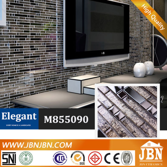 Living Room TV Wall Stainless Steel And Glass Mosaic (M855090)