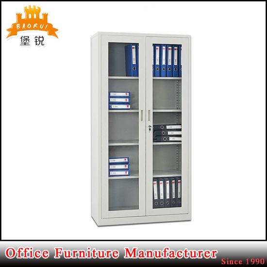 China Modern Design Glass Door Metal Display Cabinet China Metal