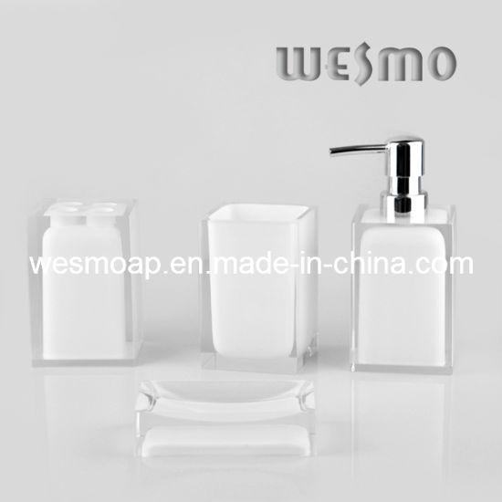 Transparent White Polyresin Bathroom Set (WBP0262D)