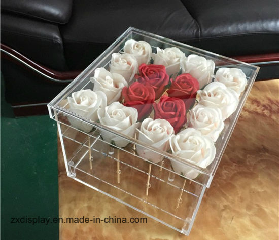 Square Acrylic Gift Box Plastic Forever Rose Packing Display Boxes pictures & photos