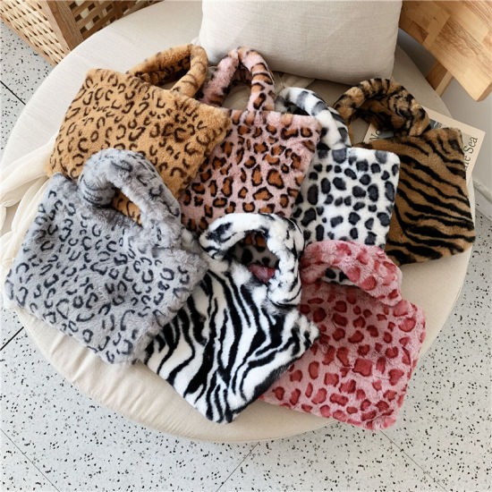 Leopard Pattern Faux Fur Lady Handbags Print Fake Fur Fashion Bags