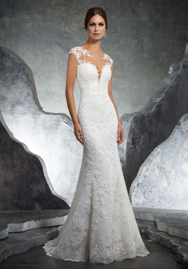Applique Over Champagne Tulle Sleeveless Mermaid Wedding Dress W1471944