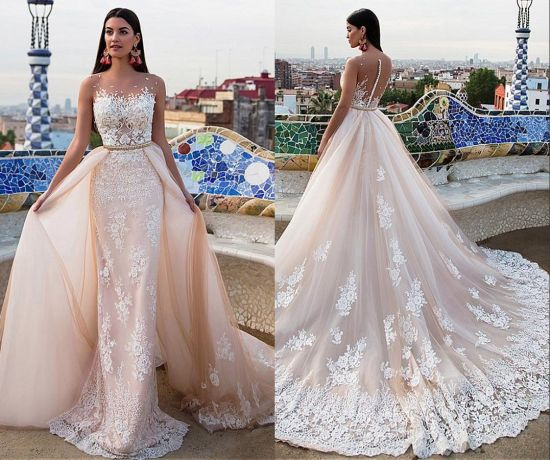 China Sleeveless Two In One Bridal Ball Gown Lace Tulle Wedding