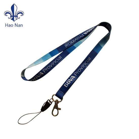 New Design Flat Woven Logo Polyester Lanyard with Thumb Hook pictures & photos