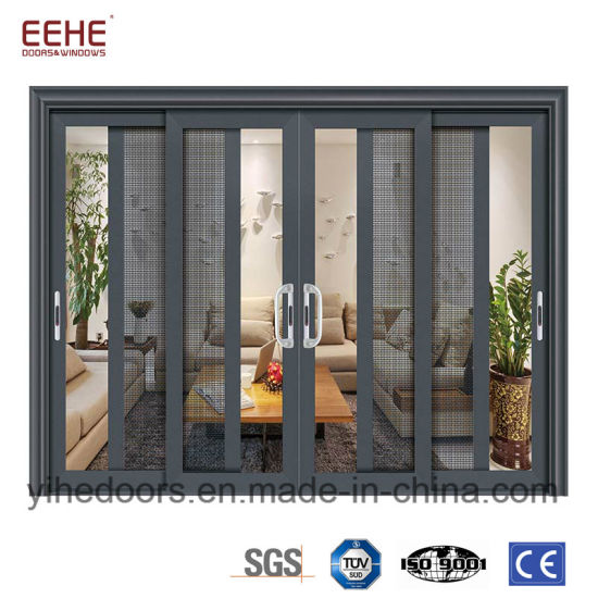 China Balcony Aluminum Sliding Glass Door With Mosquito Net For