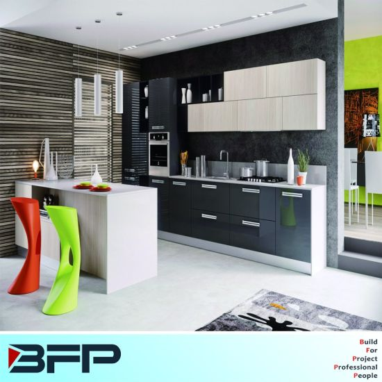 Brightness Color Laminated Kitchen Cabinets with Grey Lacquerd Kitchen Furniture BMK-65