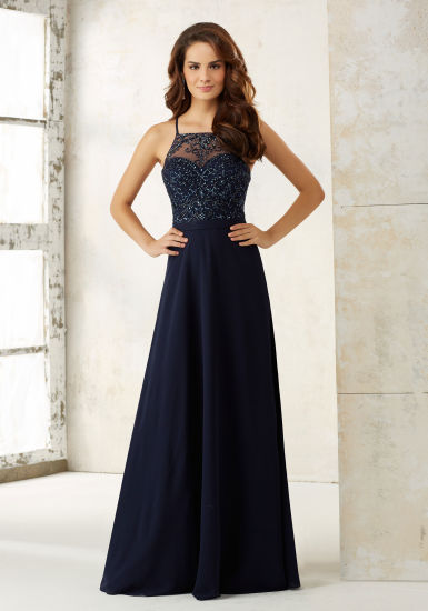 Navy Blue Beading Chiffon Bridesmaid Dress