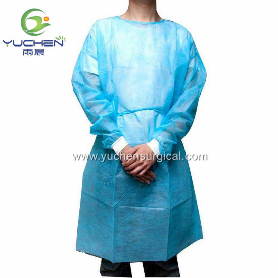 Factory Disposable PP SMS Isolation Gown with Tie for Food Packaging