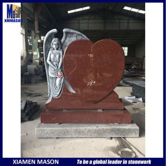Wholesale Antique Indian Red Granite Cemetery Headstone with Weeping Angel Heart pictures & photos