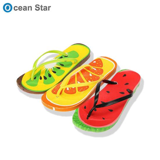 Factory Customize Logo Fruits Pattern Women PVC Rubber Flop Flips Beach Slippers
