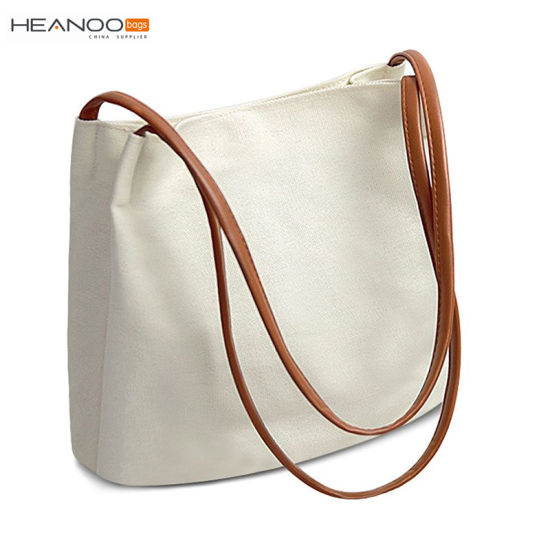 China Women Canvas Shopping Tote Handbag Cloth Book Bag with Leather ... 30b2207a1