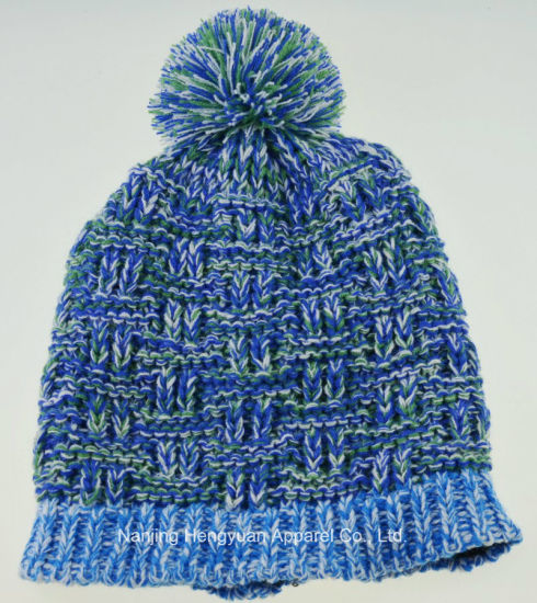 New Design Lady Warm Winter Knitted Hat with POM-POM (HY17110704)