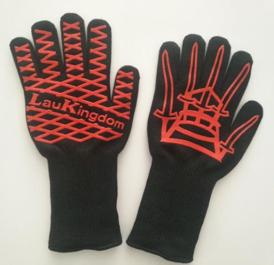 Free Sample Aramid Fiber and Silicone Coated Heat Resistant Microwave BBQ Work Safety Glove Wildly Used