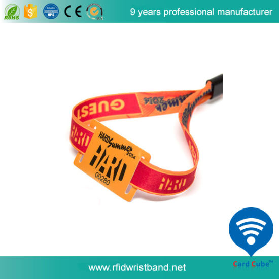 RFID Polyester Woven Wristband for Party/Festival pictures & photos