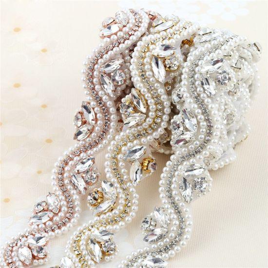 China Iron On Beaded Applique Wholesale Bridal Rhinestone Appliques