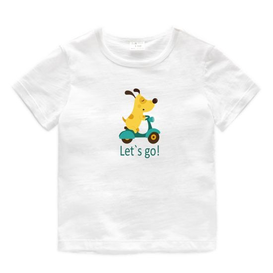 52e69cf816ed China Boy T-Shirt Dog Print Round Bamboo Cotton Cartoon Baby Clothes ...