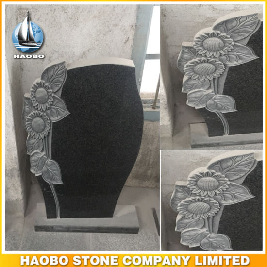 Beautiful Black Granite Headstone with Hand Carved Sunflowers