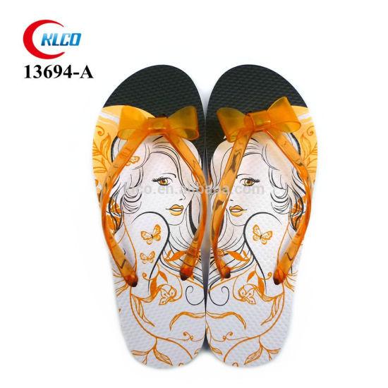 Custom Print PVC Sandals Slippers Jelly Strap Wedding Shoes Beach Slides Girl's Flip Flops Manufacturers