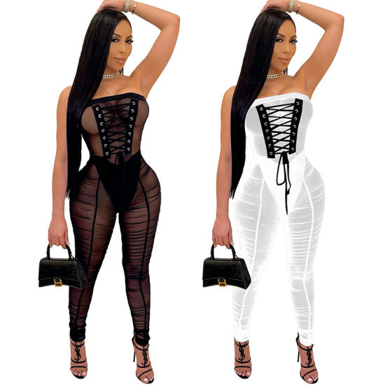 Womens Bodysuit 2021 Sexy New Sheer Gauze Jumpsuit with High Belt Womens Rompers Onepiece