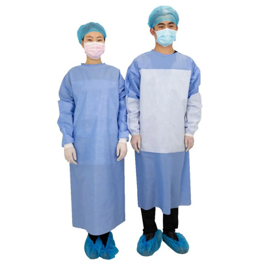 Waterproof Disposable PP+PE Non-Woven Reinforced Isolation Gown