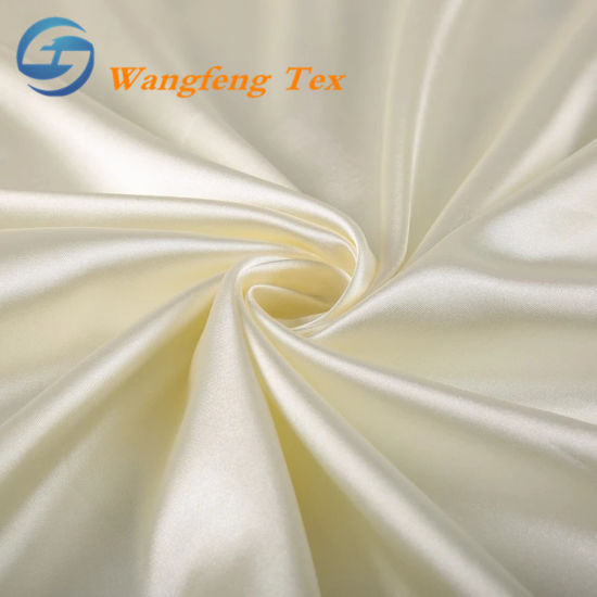 50d*75D 100% Polyester Satin Lining Fabric for Wedding Dress pictures & photos