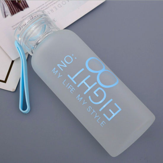 480ml Custom Logo High Borosilicate Frosted Glass Drinking Water Bottle with Sealing Cap