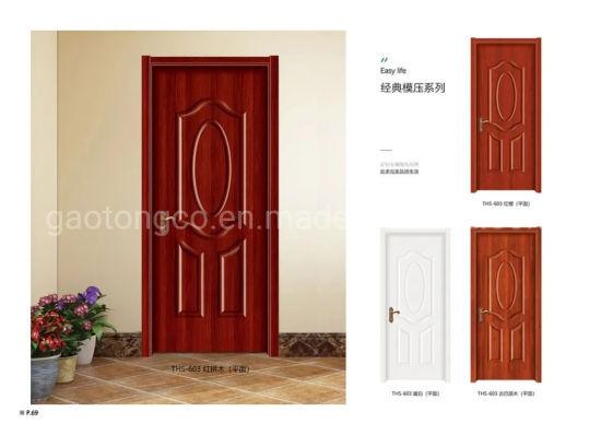 Economical Interior Wooden Rounded MDF Ffilling LVL Frame PVC Door