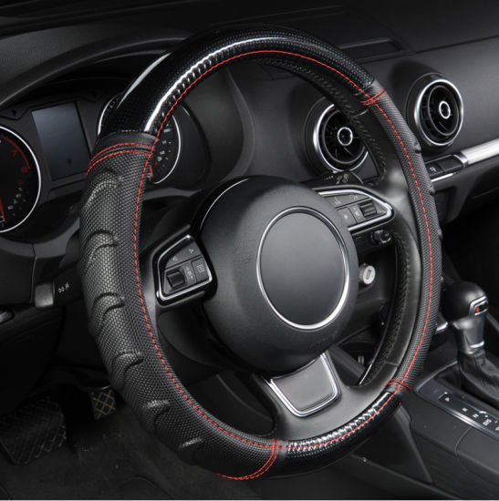 Soccer Pattern Splice Light Leather Universal Fits Most Car Styling Car Steering Wheel Cover