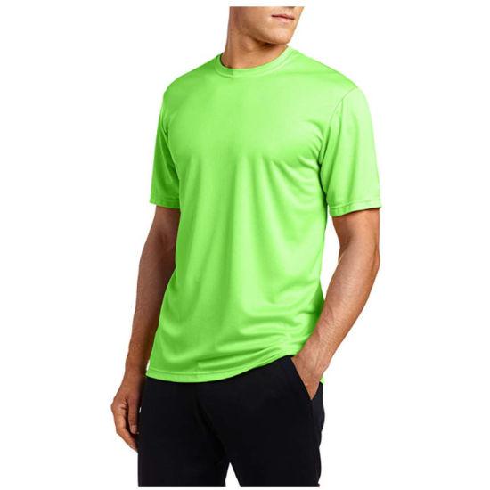 Mens T-Shirt Moisture Wick Running Tee Logo Custom Print Quick Dry T Shirt Wholesale
