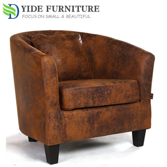 China Wooden Frame Leather Fabric Sofa Chair Tub Chair in Hotel ...