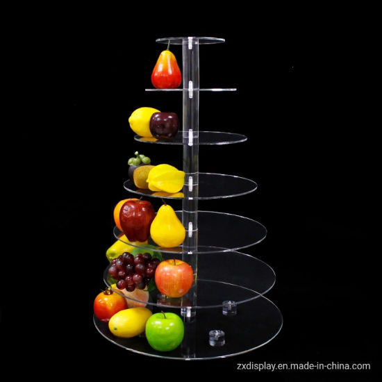 6 Tiers Round Acrylic Fruits Display Rack Cupcakes Display Stand for Party