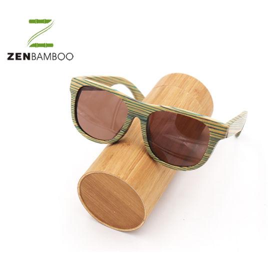 Round Bamboo Sunglasses Case with Custom Design Logo Engraving