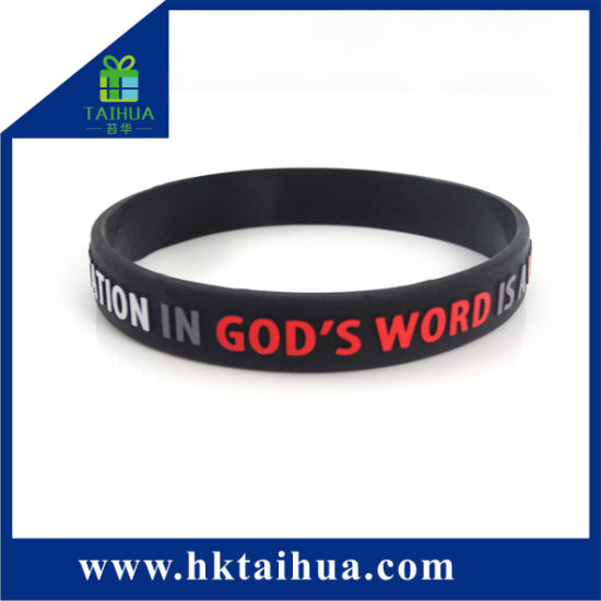 Custom Logo Embossed Painting Silicone Bracelet No Minimum