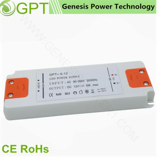 China 6W 12V Small Volume Switching LED Transformer Driver, Single