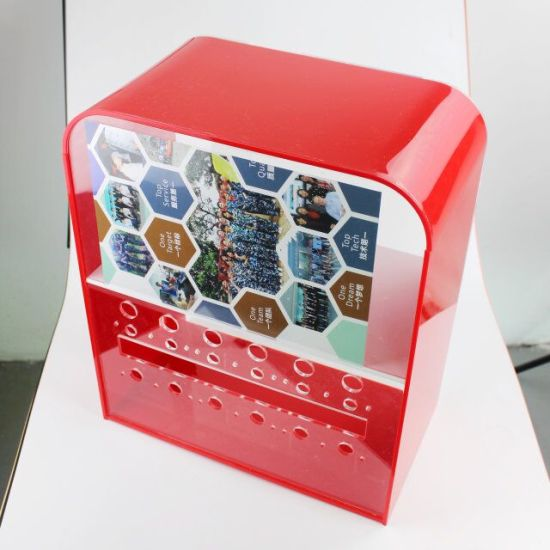 Red Color Acrylic Display Case Box with Spray Printing