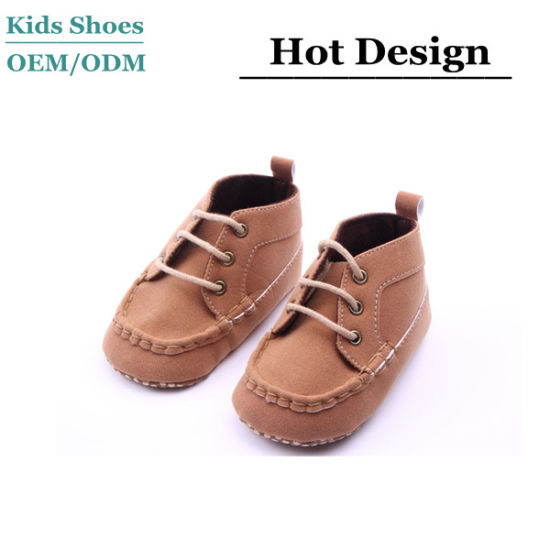 Custom Fashion Shoelace Leather Shoes Soft Sole Children Shoes