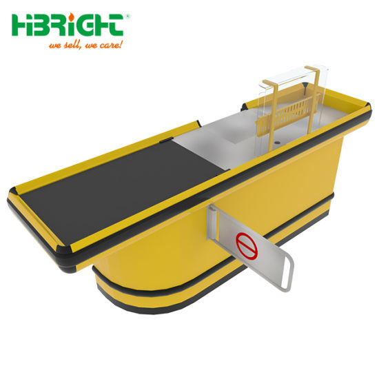 Supermarket Automatic Cash Conveyor Checkout Counters with Swing Gate pictures & photos