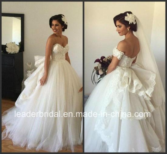 China Puffy Back Bridal Dress Fashion Vestidos Lace Tulle Wedding ...