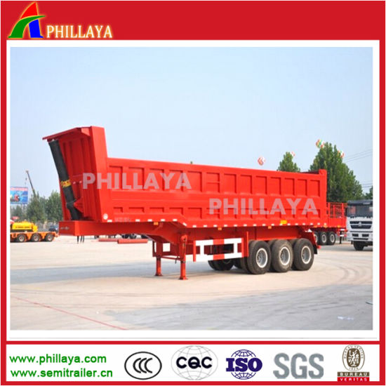 30-60ton Hydraulic Sand Stone Rear Tipping End Dump Semi Trailer pictures & photos