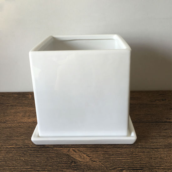 Good Decoration Square White Large Ceramic Pot