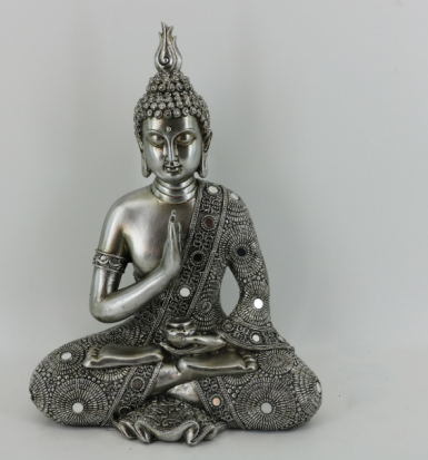 New Arrival Home Fengshui Decor Resin Meditating Peace Harmony Sitting Thai Buddha Statue on Throne