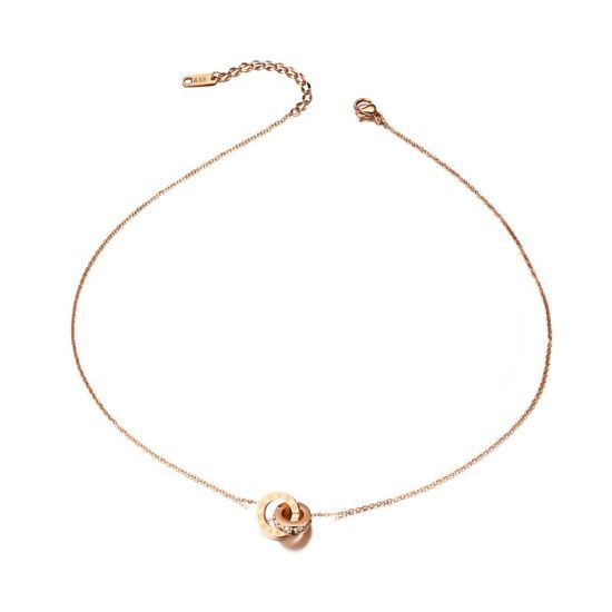 Rose Gold Color Concentric Circles Pendant Necklace Made with AAA Crystal for Women
