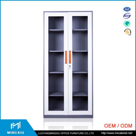 china luoyang mingxiu knock down structure 2 glass door metal glass 2 door metal file cabinet